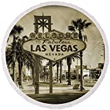 Pixels Round Beach Towel With Tassels featuring ''Welcome To Las Vegas Series Sepia Grunge'' by Ricky Barnard