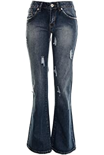 5bea7fb9e45f8 Women s Boot Cut Bell bottom Jeans Ladies Kick Flared Baggy Distressed Jeans