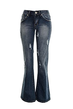 e3217ed0141ce Women s Kick Flared Retro Bell Bottom Boot Cut 60 s 70 s Jeans Distressed Stone  Wash Blue Ladies