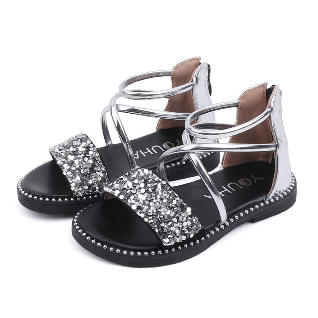 New in Respctful✿ Toddler Girl's Open Toe Cute Sequin Wedding Sandals Dress Little Girls Summer Flats Shoes Casual Silver