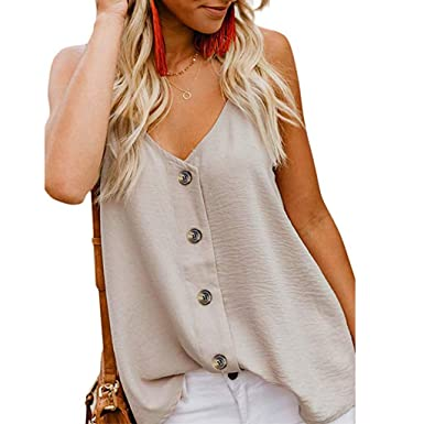 TWGONE V Neck Tank Tops for Women Vest Sleeveless Button Blouse Casual Shirt  (Small