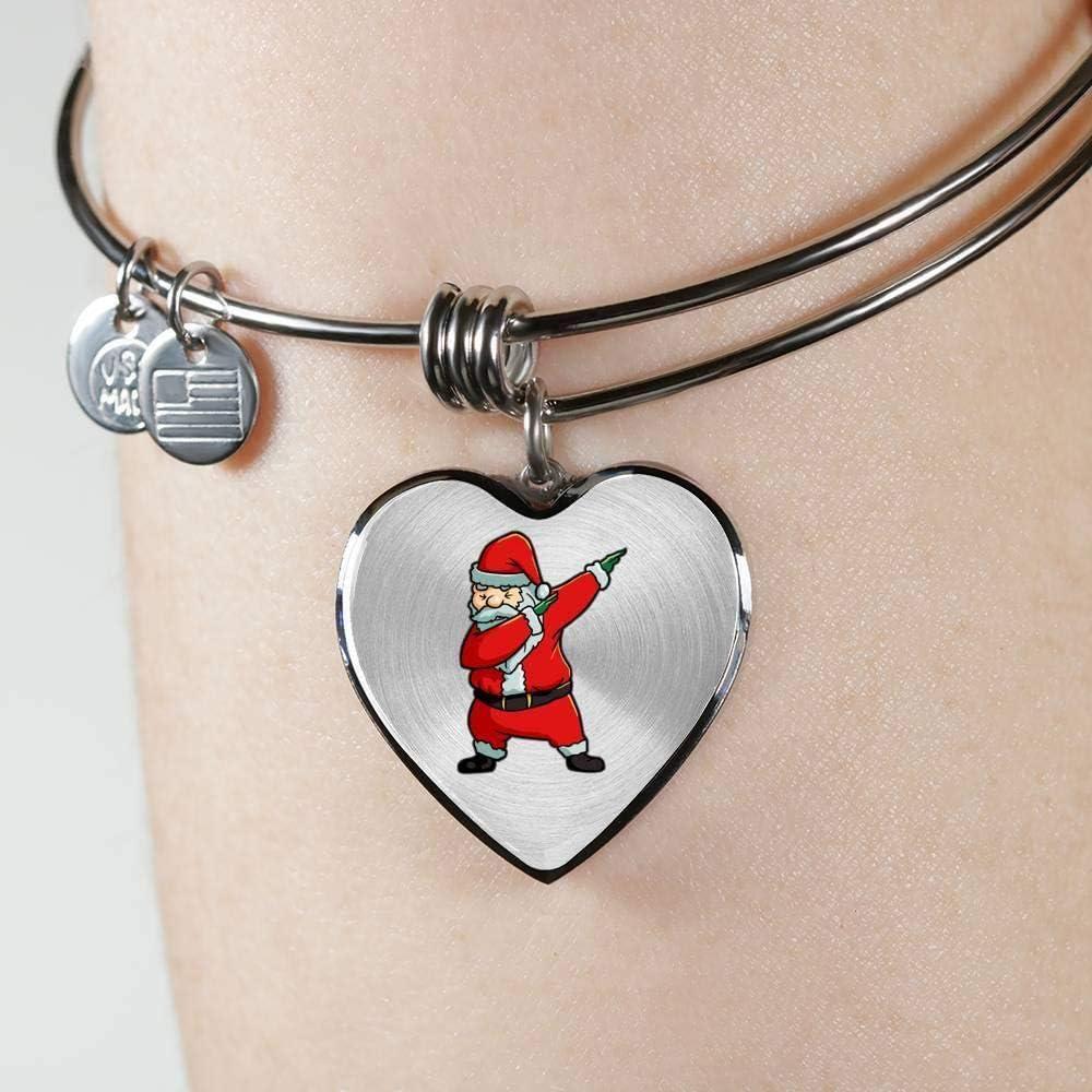 Christmas Tree Stocking Stuffer Gifts Santa Costume Santa Claus Womens Heart Pendant Bangle Bracelet