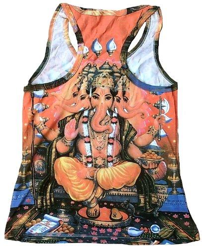 Canottiera da donna Ticila arancione a forma di Dio divinità indù GANESHA Lord Trono di Goa Trance psicopatica delic Dj Beach Party Arte Art Religion Star Designer Vintage Tattoo Design