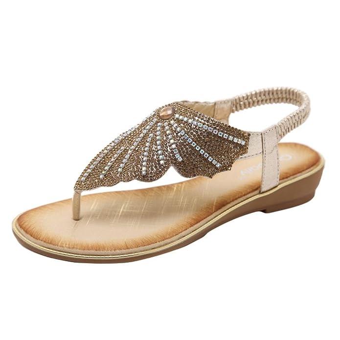 LHWY Sandalen Damen Frauen Bohe Fashion Flat Flip-Flops Strass Casual Glitzer Strand Schuhe Schwarz Sommer Casual...
