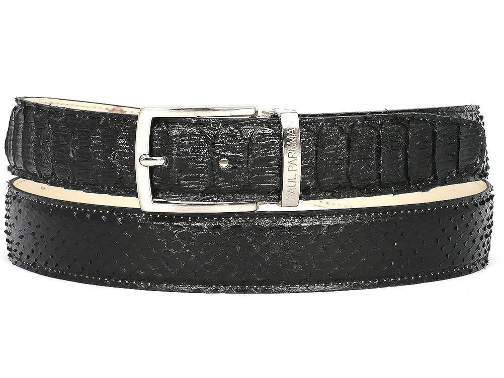 PAUL PARKMAN Mens Black Genuine Python snakeskin ID#B03-BLK Belt
