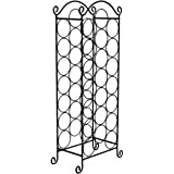Elegant Free Standing Stainless Steel Floor Wine Bottle Holder Rack for up to 21 Bottles - Will fit most wine bottles - Looks Great with Any Decor - Available in Black or White (Black)