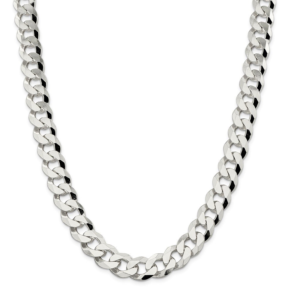 925 Sterling Silver 14mm Beveled Curb Chain Necklace 22inch