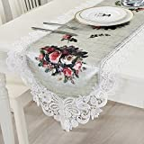 KEPSWET Floral Pattern Lace Flouncing Table Runner, 18 x 60 inch, Summer Holidays Party Banquet Wedding Doily, Hotel Livingroom Diningroom Dresser Decorations (18 x 60 inch, White)