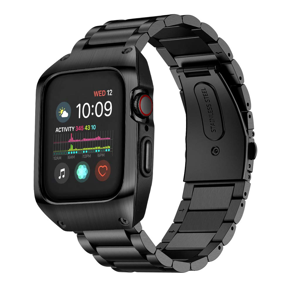 HATALKIN Compatible with Apple Watch Band 44mm Series 5 and Case, Men Stainless Steel Metal Band & Metal/Plastic Case for Iwatch 44mm Series5 (Black) by HATALKIN