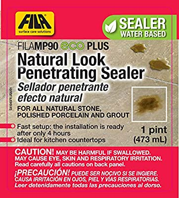 FILA Natural Stone Sealer MP90 Eco Plus 0.5 Gallon, Natural Look Sealer and Stain Protector, ideal for All Natural Stone, Polished Porcelain Tile and Grout, Eco-friendly, Water Based