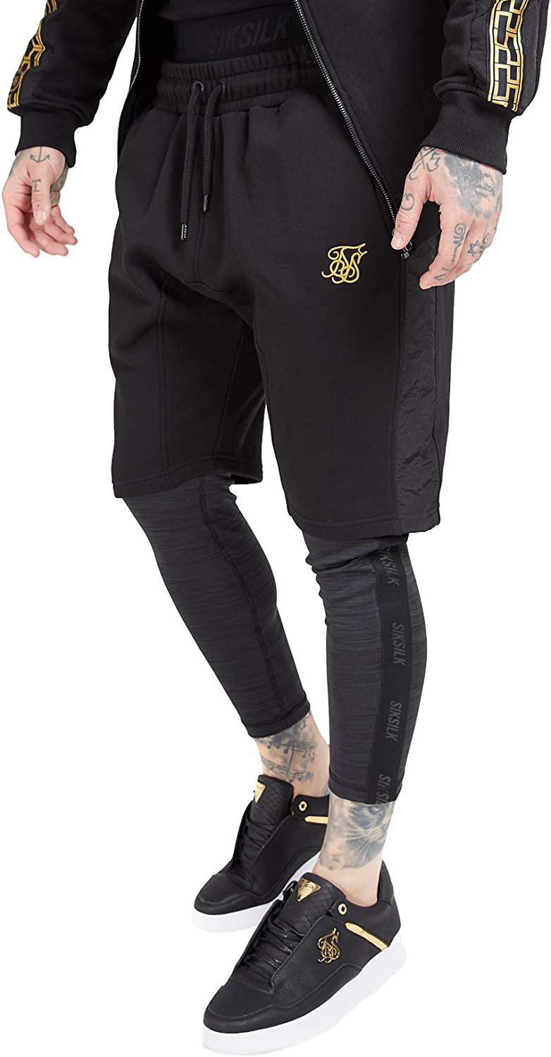 SIKSILK Nylon Panel Relaxed Fit Shorts