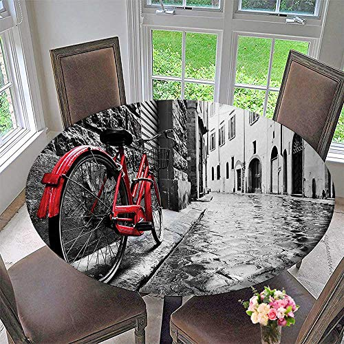Mikihome Round Tablecloth Classic Bike on Cobblestone Street in Italian Town Leisure Charm Artistic Photo Red for Kitchen 55