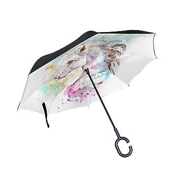 jstel doble capa puede Watercolor rosa y azul unicornio paraguas coches Reverse resistente al viento lluvia