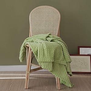 "Simple&Opulence Luxury Flannel Fleece Home Furnishing Throw Blanket (Green, 50""x70)"