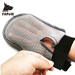 FitPetX Pet Grooming Glove Brush, Pet Grooming Dematting Brush for Long and Short Hair Dog and C
