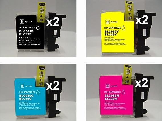 2 juegos completos: 8 cartuchos de tinta compatibles LC985BK ...