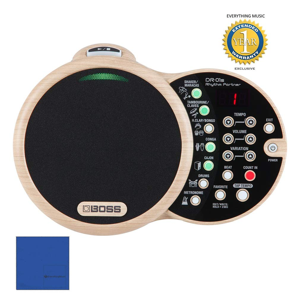 Boss DR-01S Rhythm Partner Acoustic Music Rhythm Machine with 1 Year EverythingMusic Extended Warranty Free by BOSS