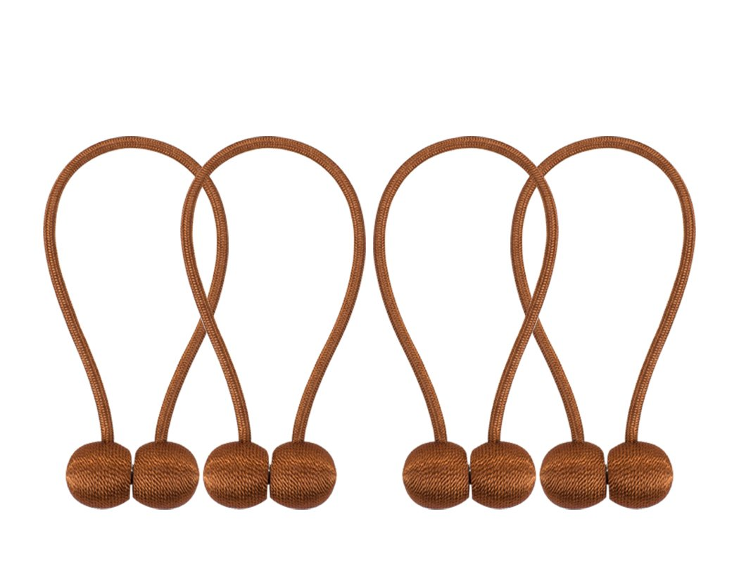 Home Queen Magnetic Curtain Tiebacks,The Most Convenient Drape Tie Backs,Decorative Rope Holdbacks/Holder for Window Sheer and Blackout Panels,Set of 4, Brown