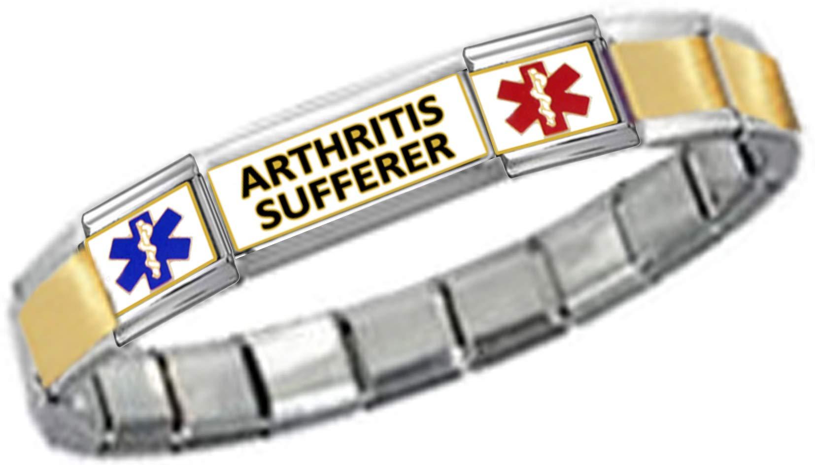 Stylysh Charms Arthritis ID 9mm Link Gold Tone Matte Ctr Bracelet