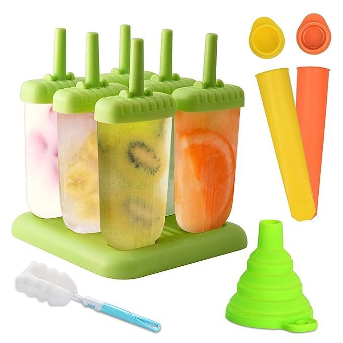 Molde para helados, Molde de polo de helado de 6 celdas + molde de silicona 2, Libre de BPA y reutilizable, Cepillo de limpieza y plegable embudo: ...