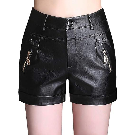 E-Girl EF631 Shorts Pantalons Court Taille Haute Grande Taille Cuir PU Femme ,Noir 28051f9bd729