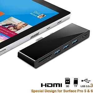 Microsoft Surface Pro 4/5/6 Docking Station, Rocketek Microsoft Surface Hub Expansion con TF / SD Card, 3 USB 3.0, Mini DP a 4K HDMI Converter Adapter Docking Station, Surface Pro Docking Station
