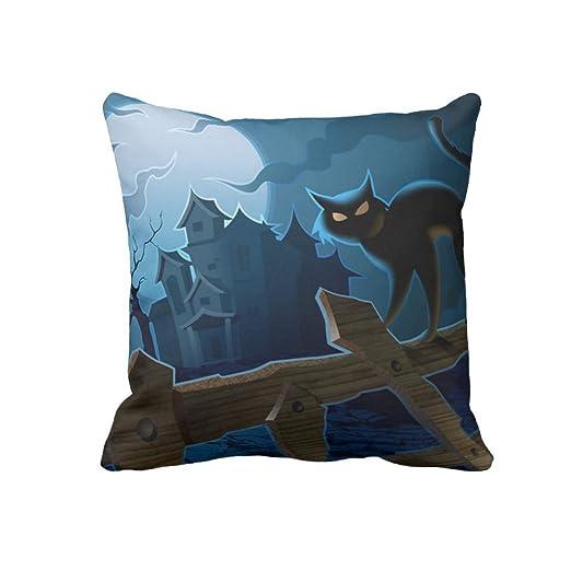 Tenebroso gato feliz Halloween manta funda de almohada Funda ...