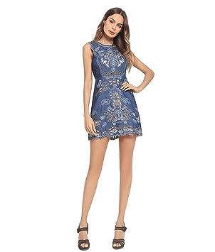 Lh$Yu Camisa De Mezclilla Azul Para Mujer Sin Mangas Del Chaleco Bordado Vestidos Midi