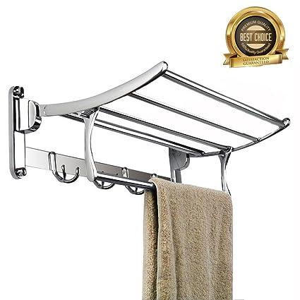 STARVAST - Toallero doble plegable con barra de toallas múltiple, acero inoxidable, montaje en pared, toallero de baño ...