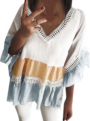 Qingsiy Camisetas Mujer Verano Blusa Mujer Sport Tops con Estampado De Rayas Mujer Verano Camisetas Escote Mujer Mangas De Trompeta Camiseta con Volantes Camiseta Mujer Top: Amazon.es: Ropa y accesorios