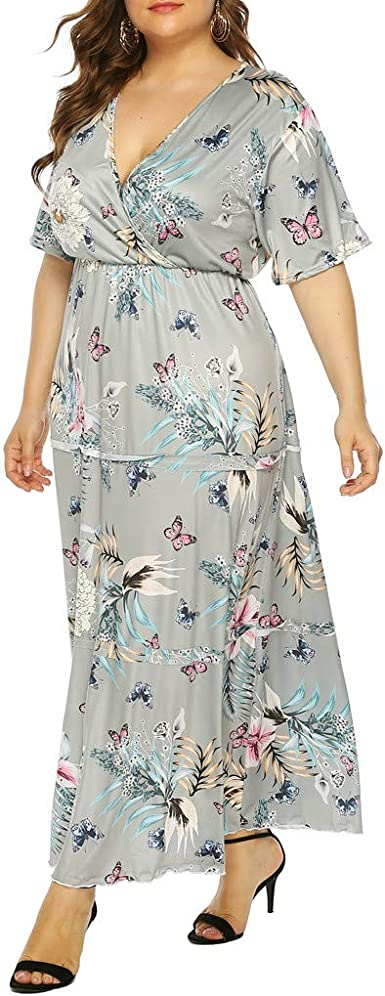 Amazon Com Farmerl Women Maxi Dress Short Sleeve V Neck Floral Flowy Beach Wedding Dress Clothing,Lily Allen Wedding Dress David Harbour