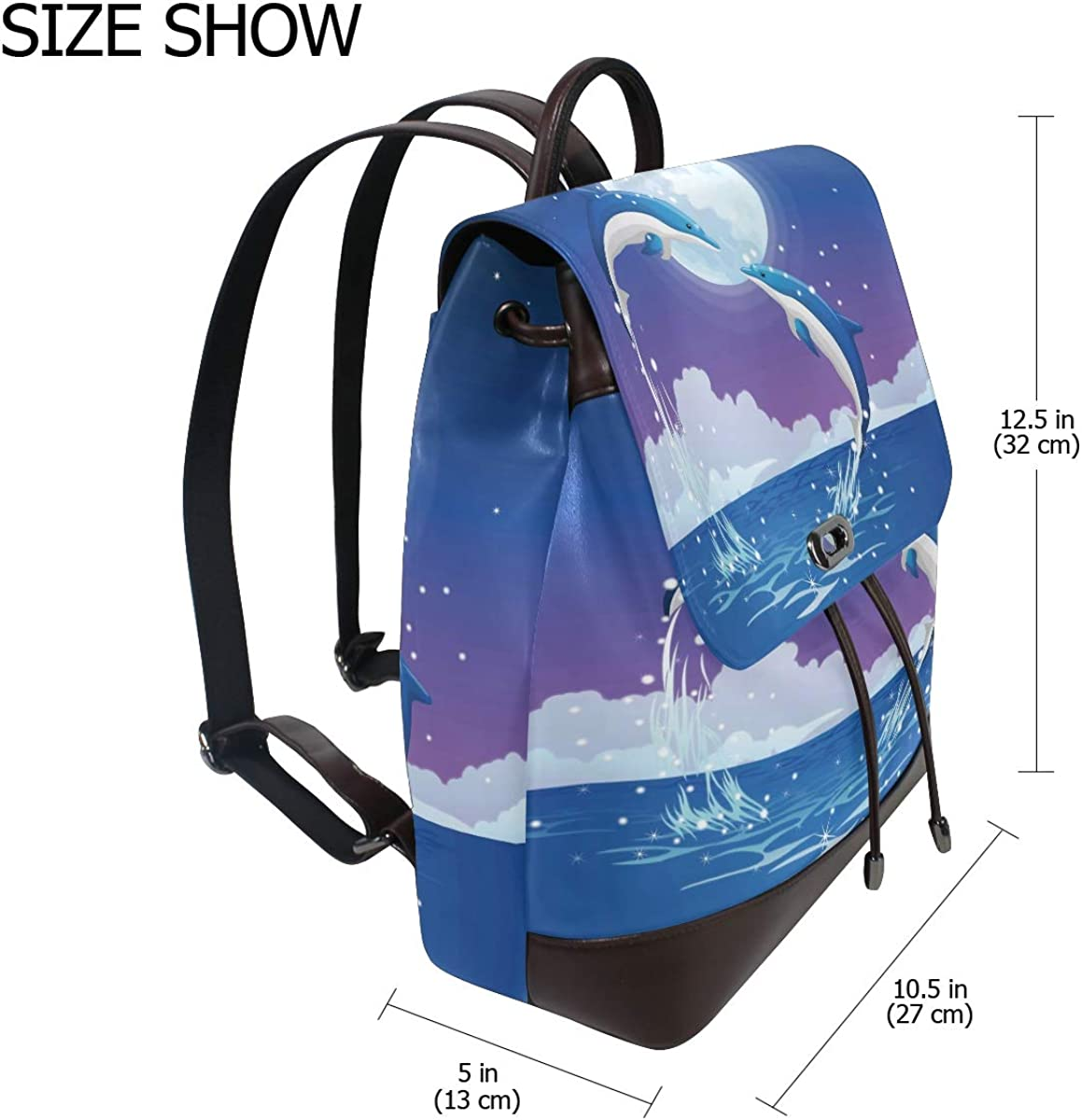 Womens Leather Backpack Jump Dolphinses Travel Shoulder Bag for Girls Ladies