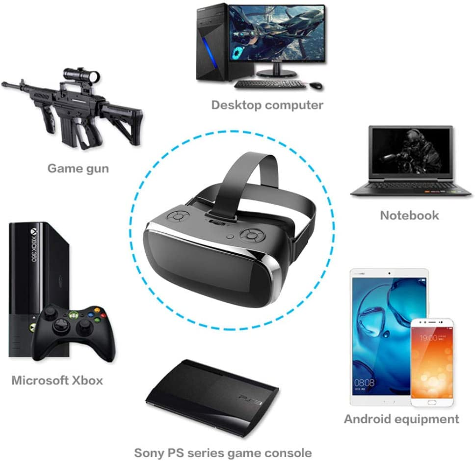 KADONNY Multifunktionale All-in-One-VR-Headset-Brille Action VR Quad Core immersive 3D-Brille PS4-Spielekonsole Virtual-Reality-Headset-Schwarz