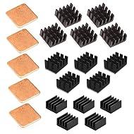 Easycargo 20pcs Raspberry Pi Heatsink Kit Aluminum + Copper + 3M 8810 Thermal Conductive Adhesive Tape for Cooling Cooler Raspberry Pi 4, Raspberry Pi 3 B+