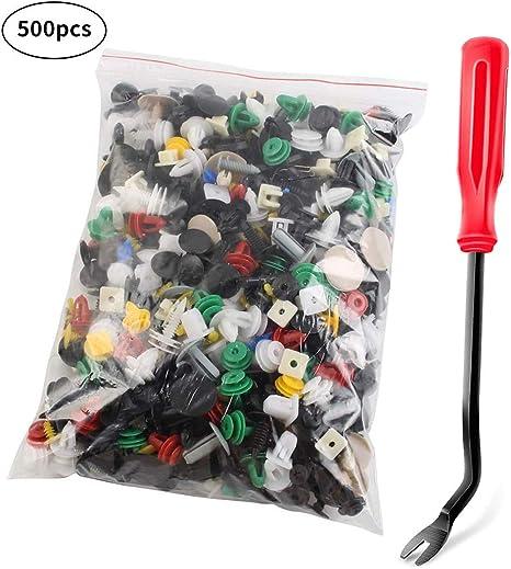 Rivet Clips Plastique 500 pcs Rivet Plastique Fixation de Protection Dispositif de retenu de poussee Rivet en Plastique Clips de Garniture de Porte de Voiture Clips de retenue