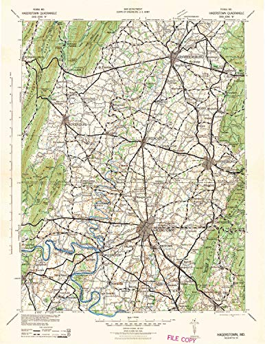 Knob Annapolis - YellowMaps Hagerstown MD topo map, 1:125000 Scale, 30 X 30 Minute, Historical, 1942, Updated 1942, 20.8 x 16 in - Tyvek