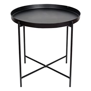 HollyHOME Metal Folding Tray End Table,21.2 x21.2 x20  Armchair slide under Sofa End Table, Round Sofa Console Table with Storage, Coffee Table,Black
