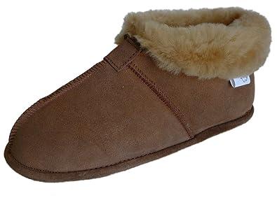 c51c4520f WoolWorks Womens Australian Sheepskin Slippers - Soft Leather Sole Size 5  Tan