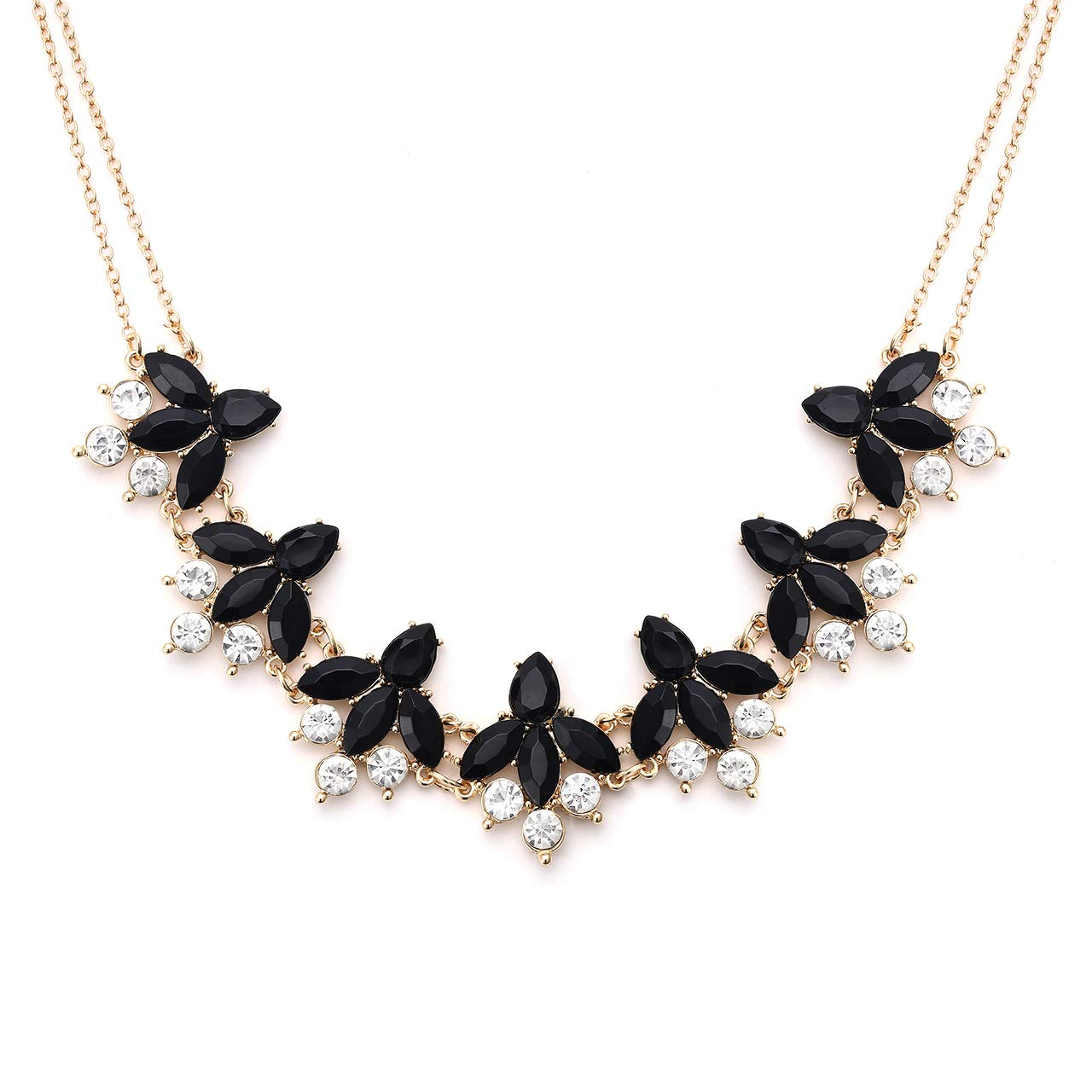 6818390a2cd91 LIAO Jewelry Crystal Flower Collar Necklace for Women Chunky Rhinestone  Floral Bib Statement Choker Necklace