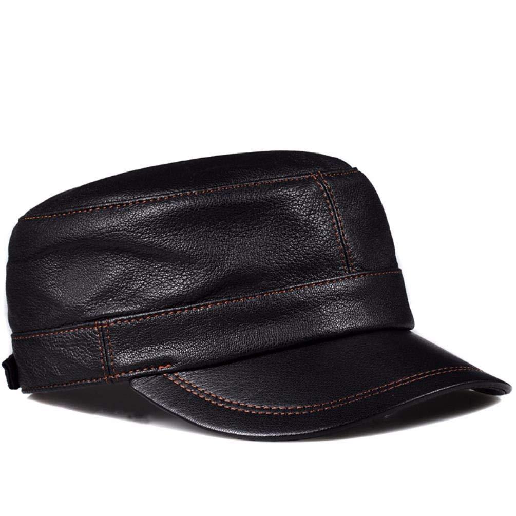QIER-PM Männer und Frauen passieren Frühling und Herbst Leder Hut Mütze militärische Mütze Körper lose breite Mütze