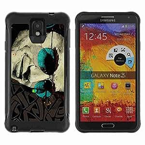 A-type Arte & diseño Anti-Slip Shockproof TPU Fundas Cover Cubre Case para Samsung Galaxy Note 3 III / N9000 / N9005 ( Cool Sunglasses tattoo Art )
