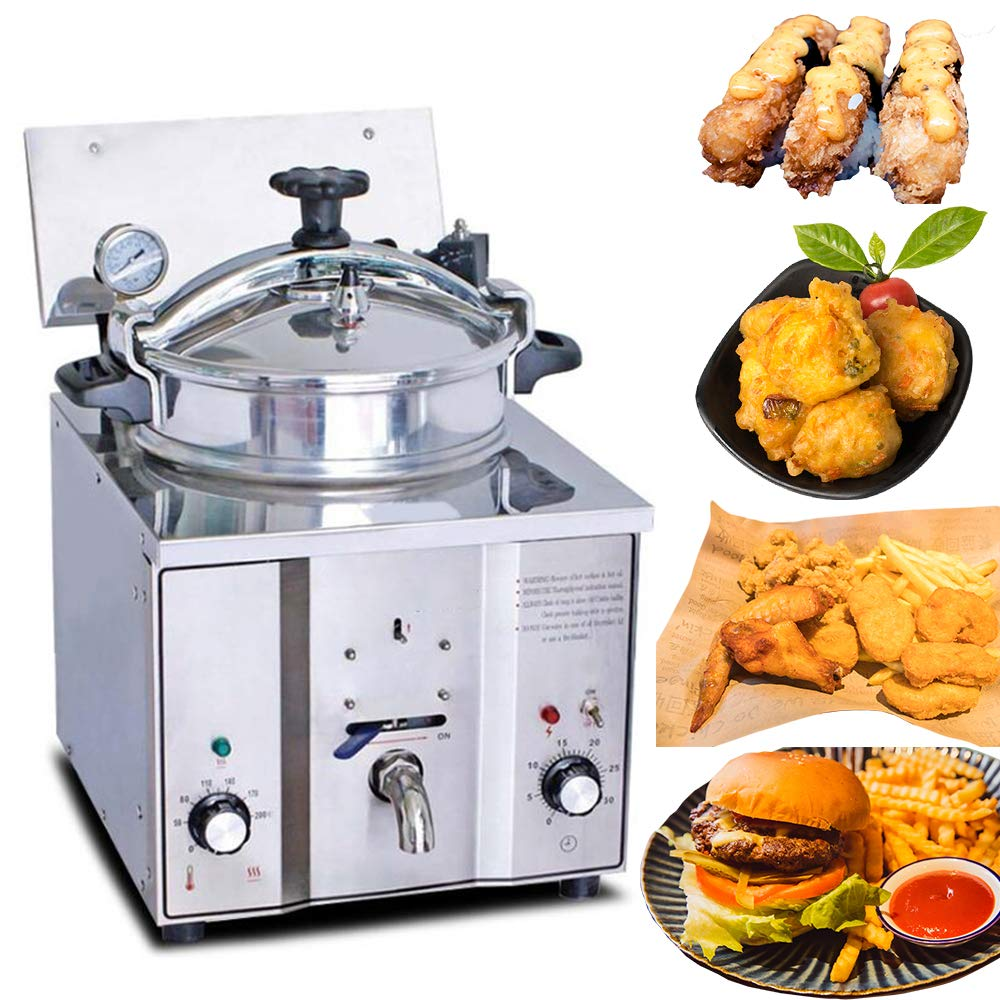 Commercial 304 Stainless Steel Electric Countertop Pressure Fryer 16L Stainless Chicken Fish Electricity-Saving Secure Reliable 3-6 Days Delivery