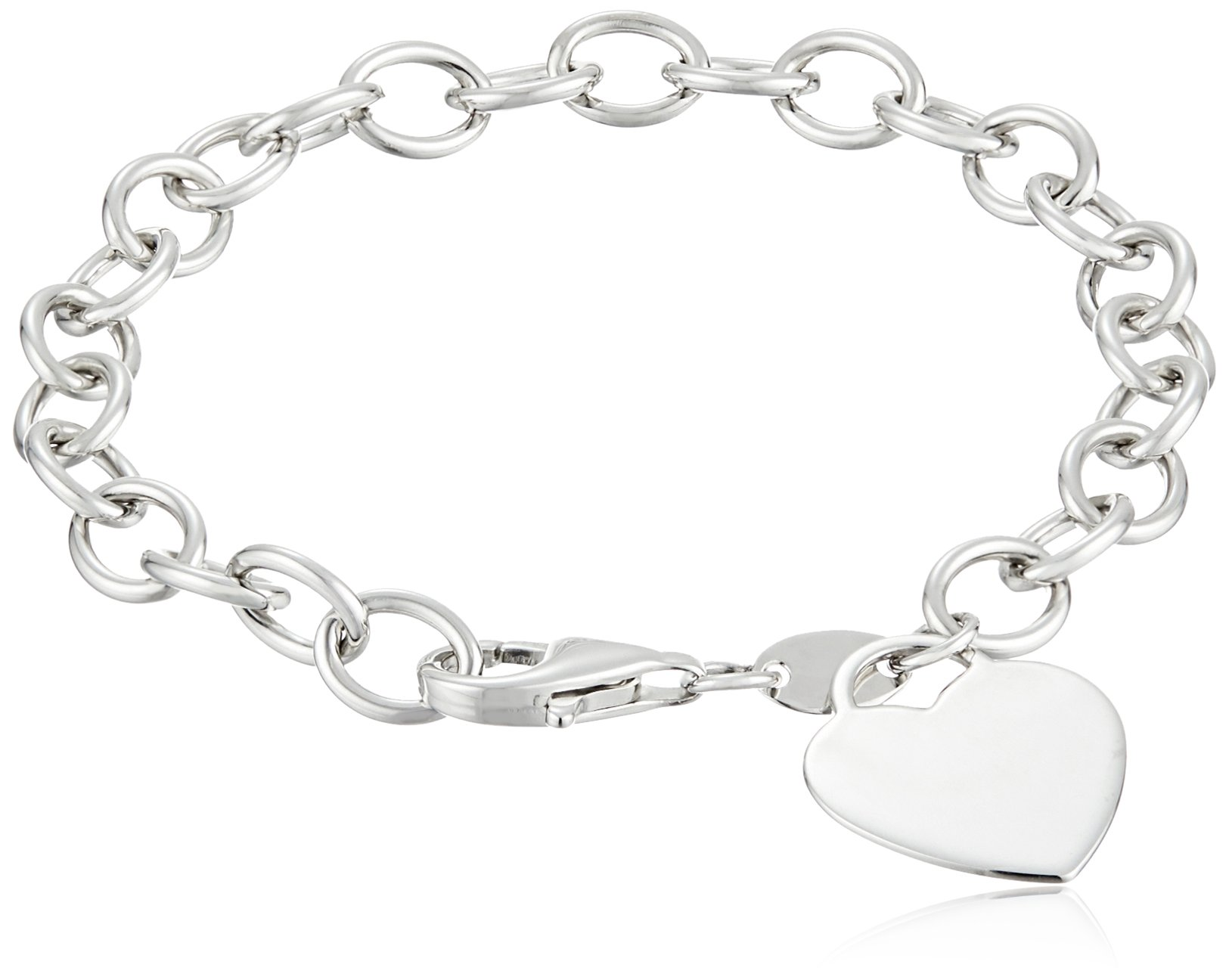 Sterling Silver Heart-Tag Bracelet, 7.5'' by Amazon Collection
