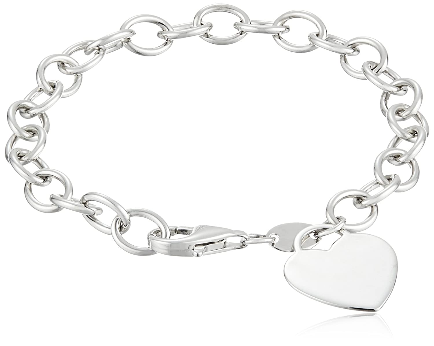Elements Silver Heart Charm Toggle Sterling Silver Bracelet Q0XI3Hmn0G