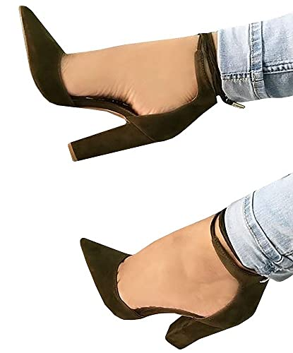 b813c0ccffcd Ferbia Sandals for Women Casual Black Cusp Toe High Heeled Pumps Ankle Strap  Shoes by