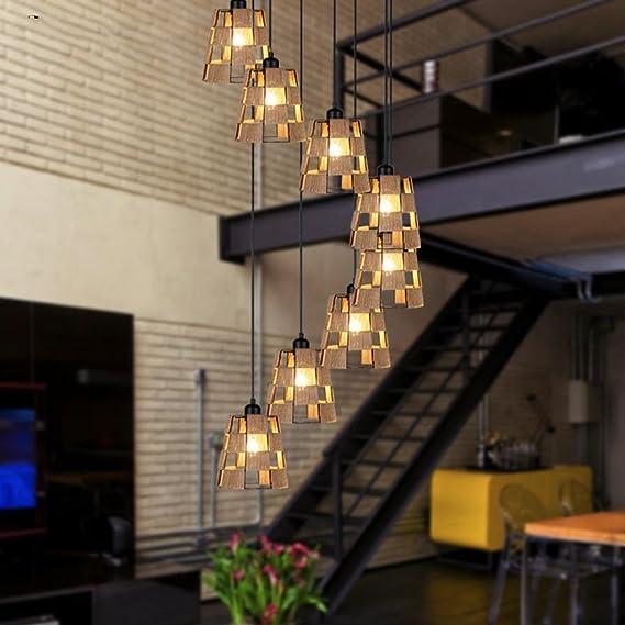 AMOS Escalera de caracol de doble nivel retro villa escalera de caracol hierro forjado lámpara de jaula restaurante restaurante chino lámparas de luz de escalera: Amazon.es: Hogar