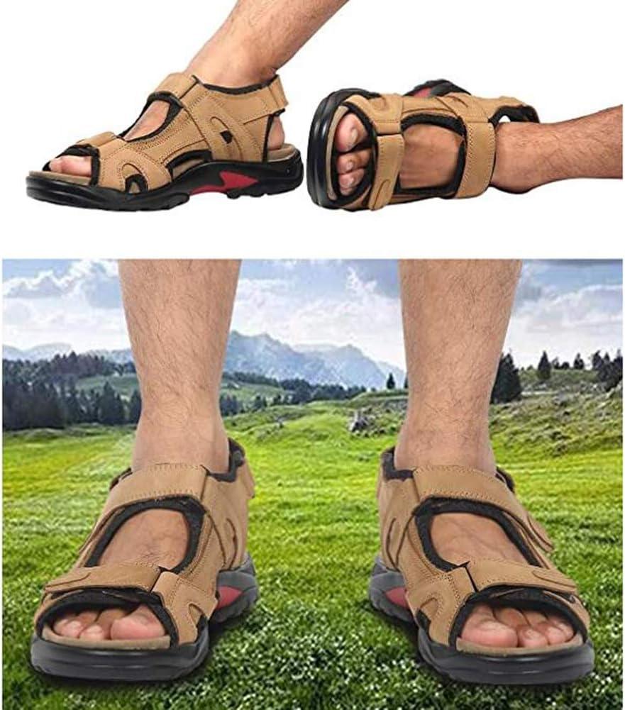 JDD Mens lederen sandalen atletische en outdoor schoenen DONKERBRUIN