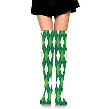4f815f7b0 Stockings Argyle Pattern Green White Hot Womens Boot Socks Accessory Knee  Thigh Sock Clearance for Girls