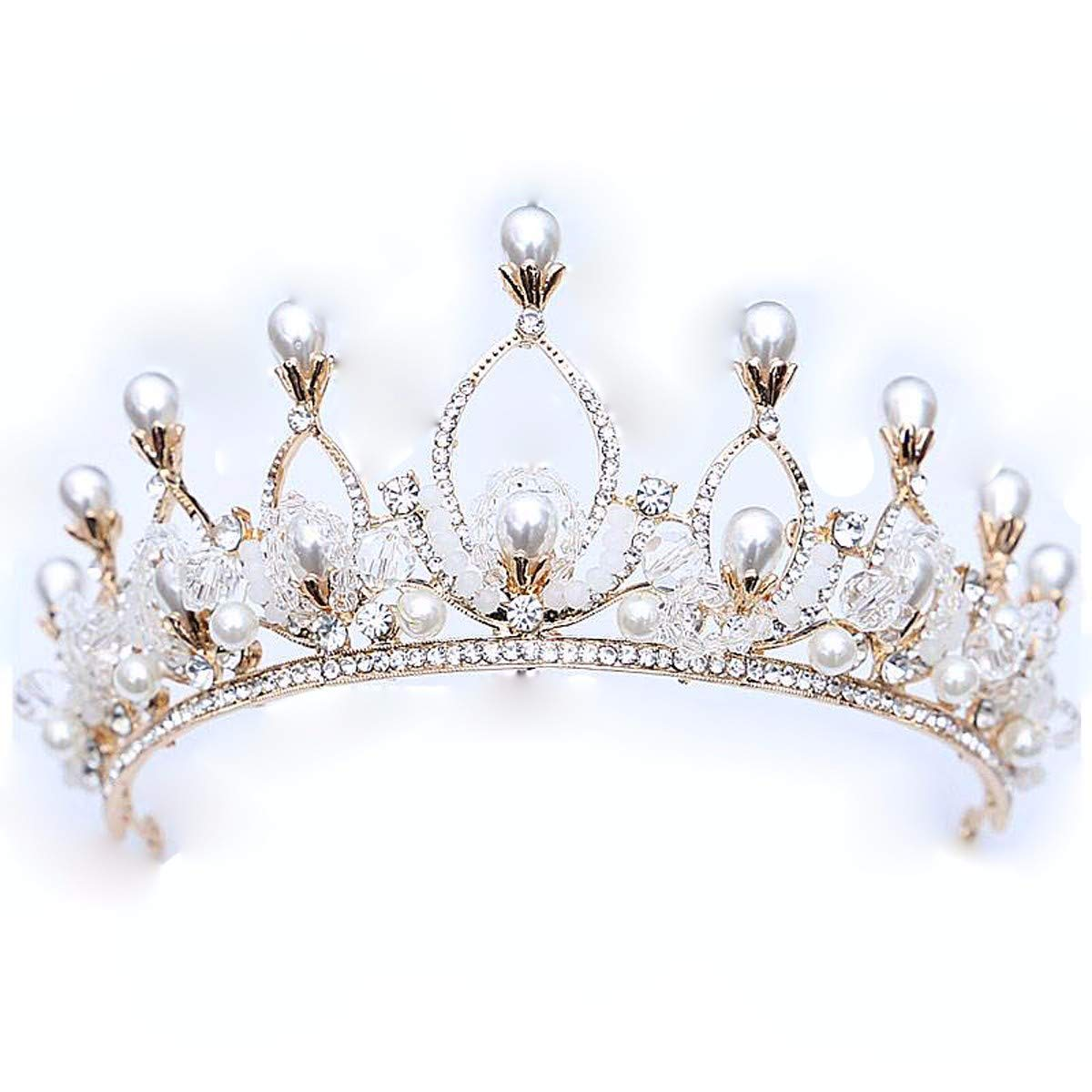 Wedding Crown, Luxurious atmosphere bride pearl crown dress wedding Wedding Necklace accessories by Junson (Image #1)