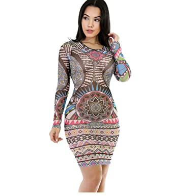 Zipper Collar Sexy Vestidos Bodycon Nightclub Bandage Dresses Print 79 (L)